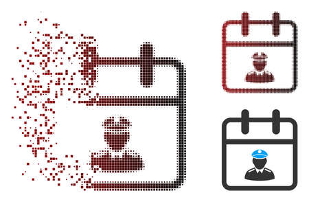 Vector police day icon in dispersed, pixelated halftone and undamaged solid variants. Disappearing effect uses rectangular sparks and horizontal gradient from red to black.