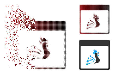 Vector festive rooster calendar page icon in dispersed, dotted halftone and undamaged entire versions. Disappearing effect uses rectangular dots and horizontal gradient from red to black.