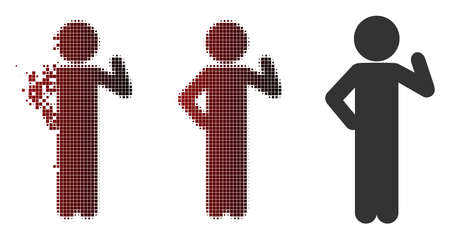 Vector child proposal icon in dispersed, pixelated halftone and undamaged whole versions. Disintegration effect involves rectangle particles and horizontal gradient from red to black.