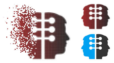 Vector dual head interface icon in dispersed, pixelated halftone and undamaged entire versions. Disappearing effect involves square particles and horizontal gradient from red to black.