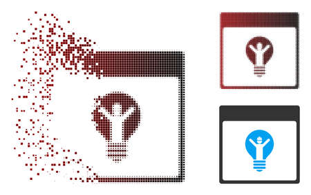 Vector electrician calendar page icon in dispersed, pixelated halftone and undamaged entire variants. Disappearing effect involves square scintillas and horizontal gradient from red to black.