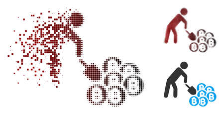 Vector person mining Bitcoins icon in fractured, dotted halftone and undamaged entire variants. Disintegration effect uses square particles and horizontal gradient from red to black.