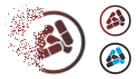Vector drugs pills icon in dispersed, pixelated halftone and undamaged entire versions. Disintegration effect uses rectangular particles and horizontal gradient from red to black.