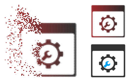 Vector setup tools calendar page icon in fractured, dotted halftone and undamaged entire variants. Disintegration effect uses rectangular sparks and horizontal gradient from red to black.