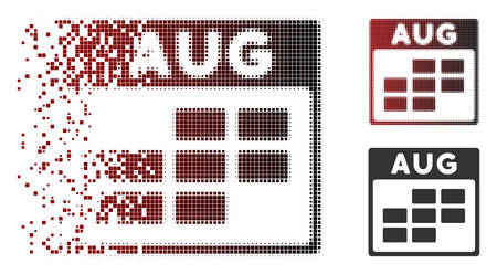 Vector August calendar grid icon in fractured, pixelated halftone and undamaged whole versions. Disintegration effect involves square scintillas and horizontal gradient from red to black.
