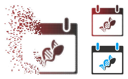 Vector sperm DNA replication calendar day icon in dispersed, pixelated halftone and undamaged entire variants. Disappearing effect involves rectangle sparks and horizontal gradient from red to black.