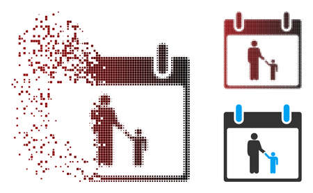 Vector father calendar day icon in dispersed, dotted halftone and undamaged solid variants. Disintegration effect involves rectangular dots and horizontal gradient from red to black.