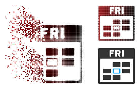 Vector Friday calendar grid icon in sparkle, pixelated halftone and undamaged entire variants. Disappearing effect uses square scintillas and horizontal gradient from red to black.