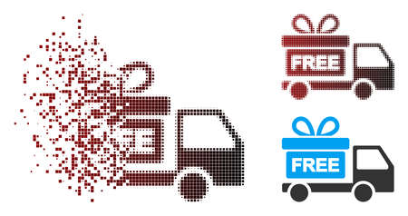 Vector gift delivery car icon in fractured, pixelated halftone and undamaged solid versions. Disintegration effect involves rectangle dots and horizontal gradient from red to black. 向量圖像