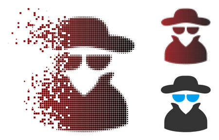 Vector spy icon in dissolved, dotted halftone and undamaged entire variants. Disintegration effect involves square particles and horizontal gradient from red to black.