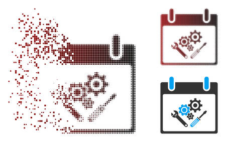 Vector instrument tools calendar day icon in sparkle, pixelated halftone and undamaged entire versions. Disappearing effect involves square particles and horizontal gradient from red to black.