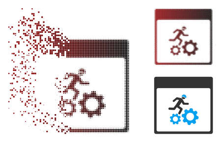 Vector running worker calendar page icon in dissolved, pixelated halftone and undamaged solid variants. Disintegration effect uses rectangular particles and horizontal gradient from red to black.