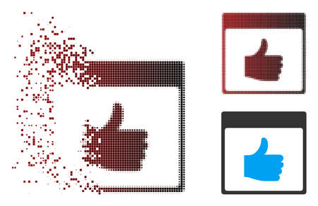 Vector thumb up calendar page icon in dissolved, pixelated halftone and undamaged entire versions. Disintegration effect uses square particles and horizontal gradient from red to black.