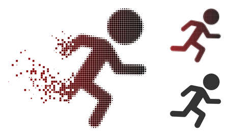 Vector running child icon in dispersed, pixelated halftone and undamaged entire variants. Disappearing effect uses rectangle particles and horizontal gradient from red to black.