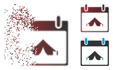 Vector camping calendar day icon in sparkle, dotted halftone and undamaged solid variants. Disintegration effect uses square dots and horizontal gradient from red to black.