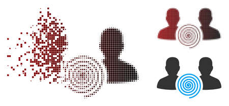 Vector hypnosis sect icon in sparkle, pixelated halftone and undamaged whole variants. Disappearing effect involves square dots and horizontal gradient from red to black.