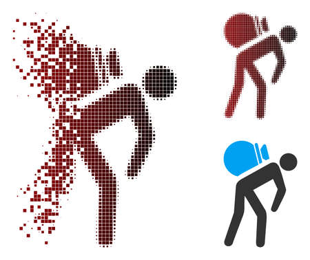 Vector porter icon in fractured, dotted halftone and undamaged whole variants. Disappearing effect uses square sparks and horizontal gradient from red to black. Stock Illustratie