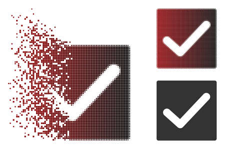 Vector check icon in dissolved, dotted halftone and undamaged whole versions. Disappearing effect involves rectangular dots and horizontal gradient from red to black.