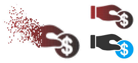 Vector dollar donation icon in dissolved, pixelated halftone and undamaged whole variants. Disintegration effect involves rectangle sparks and horizontal gradient from red to black.