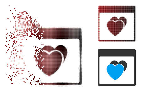 Vector hearts calendar page icon in fractured, dotted halftone and undamaged entire versions. Disappearing effect uses square particles and horizontal gradient from red to black.