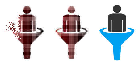 Vector sales funnel icon in dispersed, pixelated halftone and undamaged entire variants. Disintegration effect involves square particles and horizontal gradient from red to black. Ilustração