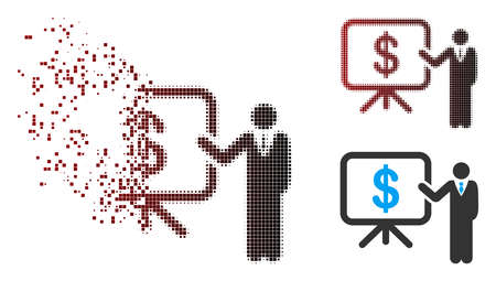 Vector business plan presentation icon in dispersed, pixelated halftone and undamaged entire variants. Disintegration effect uses rectangle scintillas and horizontal gradient from red to black.