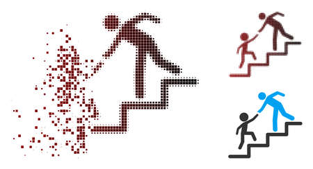 Vector education steps icon in dispersed, dotted halftone and undamaged entire versions. Disintegration effect uses square particles and horizontal gradient from red to black.