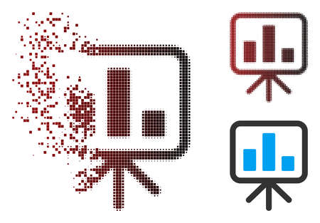 Vector bar chart display board icon in sparkle, dotted halftone and undamaged whole variants. Disappearing effect uses square sparks and horizontal gradient from red to black.