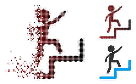 Vector child steps upstairs icon in dissolved, dotted halftone and undamaged entire versions. Disappearing effect uses square particles and horizontal gradient from red to black. Banque d'images - 112139211