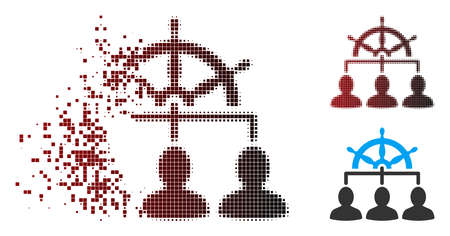 Vector management steering wheel icon in sparkle, pixelated halftone and undamaged entire variants. Disappearing effect uses square particles and horizontal gradient from red to black. Stockfoto - 112139212