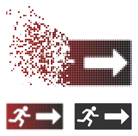 Vector emergency exit icon in dispersed, dotted halftone and undamaged solid variants. Disintegration effect involves square scintillas and horizontal gradient from red to black.