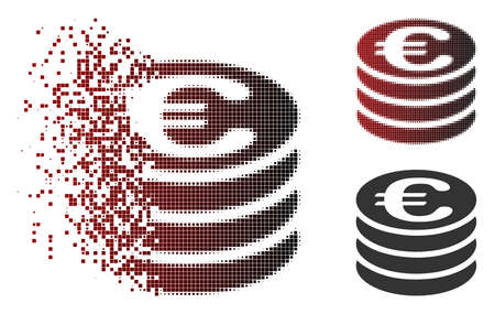 Vector Euro coin column icon in dissolved, pixelated halftone and undamaged whole variants. Disappearing effect uses rectangle particles and horizontal gradient from red to black.