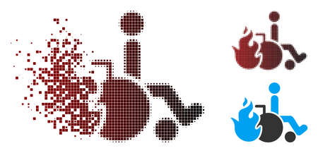 Vector burn patient icon in fractured, pixelated halftone and undamaged entire versions. Disintegration effect uses square scintillas and horizontal gradient from red to black.