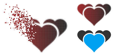 Vector favourite hearts icon in dispersed, dotted halftone and undamaged solid variants. Disappearing effect involves rectangle sparks and horizontal gradient from red to black.