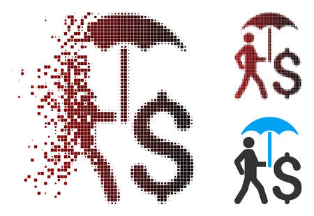 Vector walking businessman with umbrella icon in dispersed, dotted halftone and undamaged entire variants.