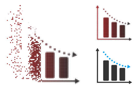 Vector negative trend icon in sparkle, pixelated halftone and undamaged solid versions. Disappearing effect uses rectangular particles and horizontal gradient from red to black.