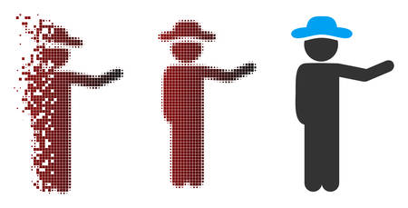 Vector gentleman show icon in dispersed, pixelated halftone and undamaged whole variants. Disintegration effect involves square dots and horizontal gradient from red to black.