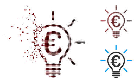 Vector Euro idea bulb icon in fractured, dotted halftone and undamaged entire variants. Disappearing effect uses rectangular dots and horizontal gradient from red to black.