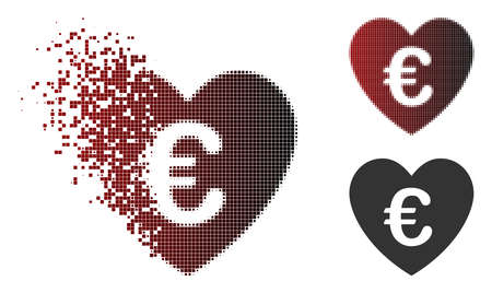 Vector Euro love heart icon in dispersed, pixelated halftone and undamaged solid versions. Disappearing effect uses rectangle sparks and horizontal gradient from red to black.