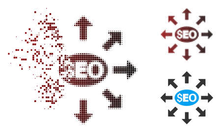 Vector seo distribution icon in fractured, dotted halftone and undamaged whole variants. Disappearing effect uses rectangle scintillas and horizontal gradient from red to black.