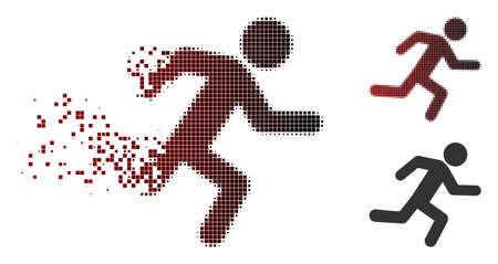 Vector running man icon in dispersed, dotted halftone and undamaged entire versions. Disintegration effect involves rectangular dots and horizontal gradient from red to black.