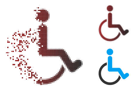 Vector disabled person icon in dispersed, dotted halftone and undamaged entire variants. Disintegration effect involves square particles and horizontal gradient from red to black.