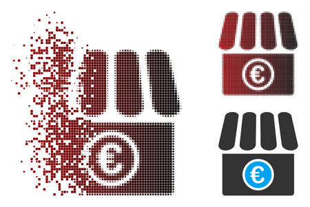 Vector Euro shop icon in fractured, pixelated halftone and undamaged entire versions. Disappearing effect uses square dots and horizontal gradient from red to black.