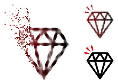 Vector diamond crystal icon in sparkle, pixelated halftone and undamaged whole variants. Disintegration effect involves square particles and horizontal gradient from red to black. Ilustração