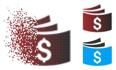 Vector checkbook icon in fractured, dotted halftone and undamaged entire versions. Disappearing effect involves rectangle scintillas and horizontal gradient from red to black.