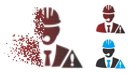 Vector industrial emergency operator icon in sparkle, dotted halftone and undamaged solid versions. Disappearing effect involves square dots and horizontal gradient from red to black.