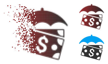 Vector banknotes umbrella icon in dissolved, pixelated halftone and undamaged whole versions. Disappearing effect involves square dots and horizontal gradient from red to black.