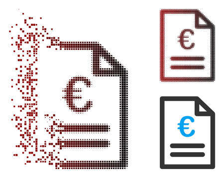 Vector Euro invoice icon in dispersed, pixelated halftone and undamaged whole variants. Disappearing effect uses rectangular dots and horizontal gradient from red to black.