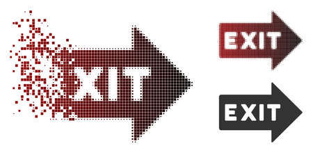Vector exit arrow icon in dispersed, dotted halftone and undamaged solid versions. Disappearing effect involves square sparks and horizontal gradient from red to black.