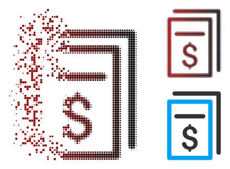 Vector invoices icon in dispersed, dotted halftone and undamaged entire variants. Disappearing effect uses rectangle scintillas and horizontal gradient from red to black.